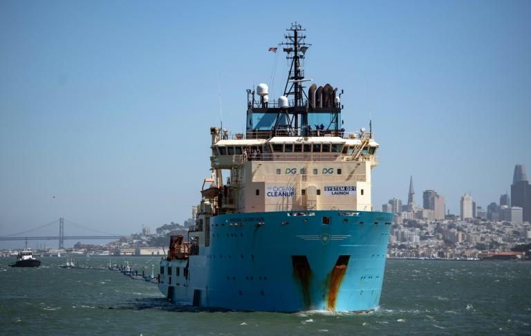 Ocean Cleanup's ship finally sailed from San Francisco on September 9 for trials on cleaning the patch (AFP Photo/JOSH EDELSON)