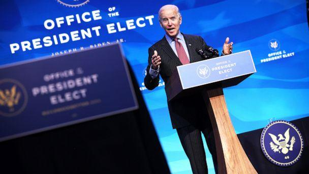 PHOTO:  President-elect Joe Biden delivers remarks after he announced cabinet nominees that will round out his economic team, including secretaries of commerce and labor, at The Queen theater in Wilmington, Del., Jan. 8, 2021. (Chip Somodevilla/Getty Images)