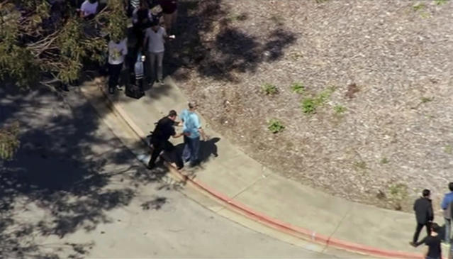 <p>This image taken from video from KGO-TV shows a person is searched as police respond to reports of a shooting at YouTube headquarters in the city of San Bruno, Calif., on April 3, 2018. City Manager Connie Jackson says there have been multiple 911 calls reporting a shooting and that police and fire officials have responded. (Photo: KGO-TV via AP) </p>