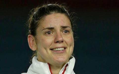 A tearful Sarah Hunter after receiving her 100th England cap - Credit: Getty Images