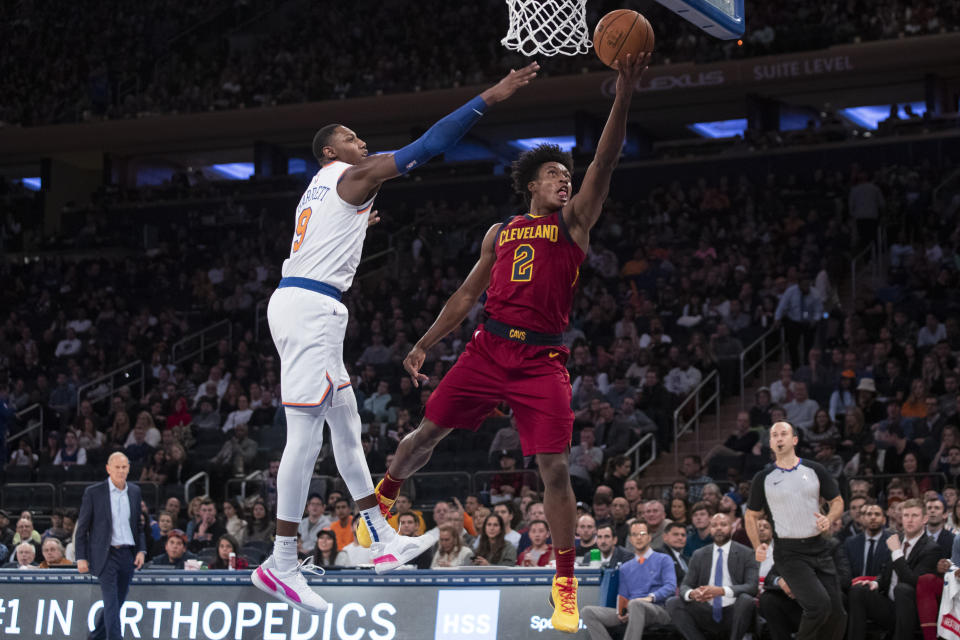 Cleveland Cavaliers guard Collin Sexton (2) goes to the basket past New York Knicks guard RJ Barrett (9) during the second half of an NBA basketball game Sunday, Nov. 10, 2019, at Madison Square Garden in New York. The Cavaliers won 108-87. (AP Photo/Mary Altaffer)