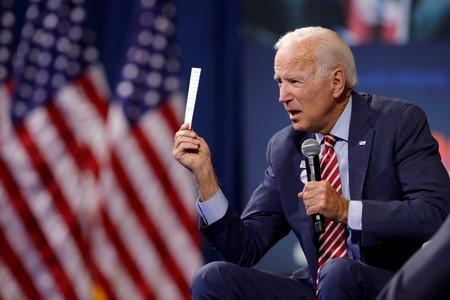 U.S. Democratic presidential candidate and former U.S. VP Biden responds to a question during a forum held by gun safety organizations the Giffords group and March For Our Lives in Las Vegas