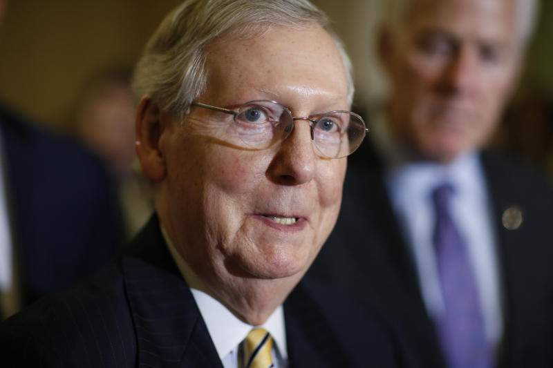 Mitch McConnell is feeling the heat from conservative groups to do more to confirm President Donald Trump's judicial nominees. He does not appear willing to axe the so-called blue-slip rule to appease them, however. (Joshua Roberts / Reuters)