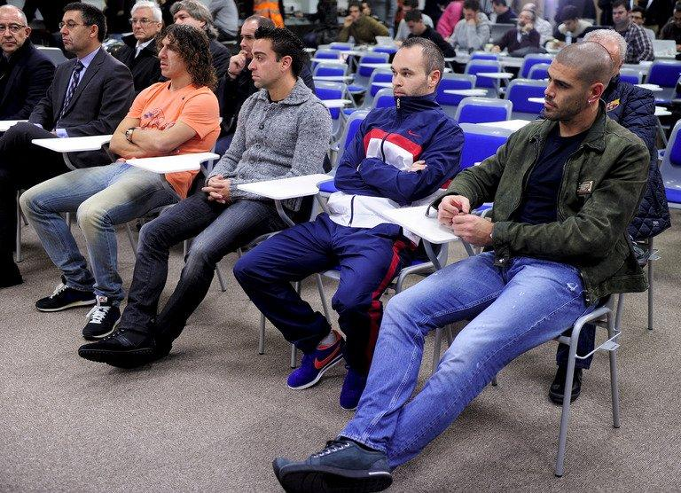 (From L) Barcelona's players, Carles Puyol, Xavi Hernandez, Andres Iniesta and Victor Valdes attend a press conference called by Barcelona's president Sandro Rosell about coach Tito Vilanova, at the club's Sports Center Joan Gamper in St Joan Despi, near Barcelona, on December 19, 2012. It was revealed Vilanova has suffered a relapse of a tumour on which he was operated just over a year ago