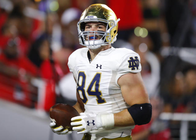 Notre Dame TE Cole Kmet showed some real NFL potential in his season debut at Georgia. (Getty Images)