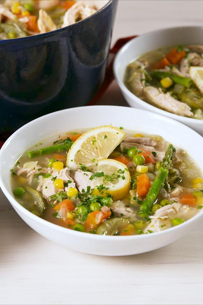 """<p>Don't be shy with the lemon wedges! </p><p>Get the recipe from <a href=""""https://www.delish.com/cooking/recipe-ideas/a19992009/spring-chicken-soup-recipe/"""" rel=""""nofollow noopener"""" target=""""_blank"""" data-ylk=""""slk:Delish"""" class=""""link rapid-noclick-resp"""">Delish</a>.</p>"""
