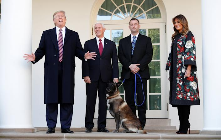 Conan was with his military handler on the colonnade of the West Wing of the White House on Monday. (Photo: Tom Brenner / Reuters)