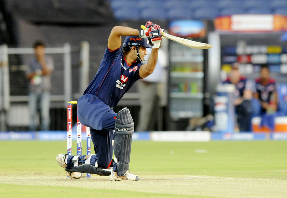 Irfan Pathan of Delhi Daredevils bats during match 71 of the Pepsi Indian Premier League ( IPL) 2013  between The Pune Warriors India and the Delhi Daredevils held at the Subrata Roy Sahara Stadium, Pune on the 19th May 2013. (BCCI)