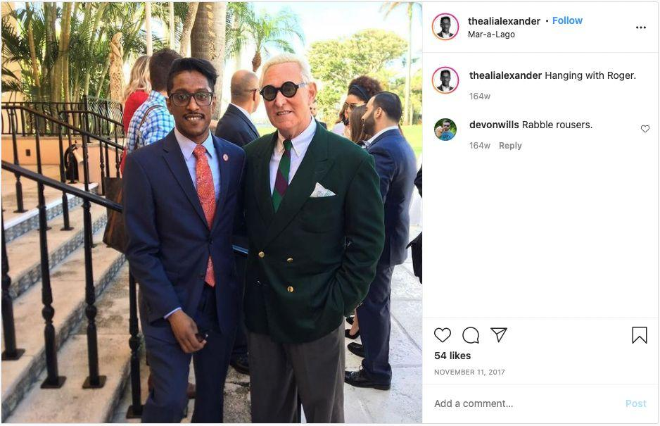 Ali Alexander and Roger Stone meet at Donald Trump's Mar-a-Lago club in Palm Beach, Florida. (Photo: Instagram/Ali Alexander)