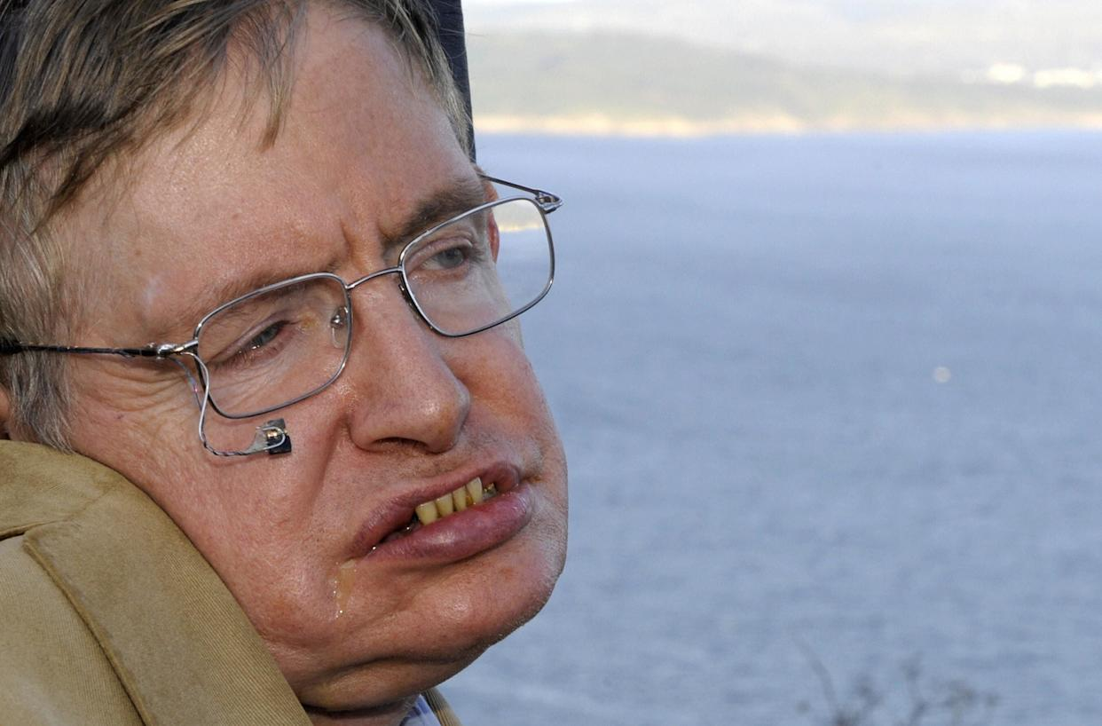 Stephen Hawking on a trip to Cape Finisterre in Spain in 2008. The scientist married and divorced twice and had three children. (Photo: MIGUEL RIOPA/Getty Images)