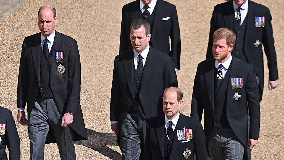Prince Harry's 'frosty reception' from his family during Prince Philip's funeral may stop him returning for Princess Diana's statue unveiling. Photo: Getty