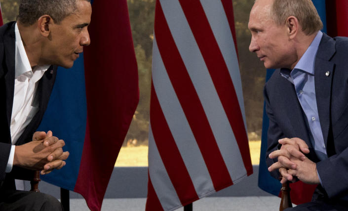 FILE - This June 17, 2013 file photo shows President Barack Obama meeting with Russian President Vladimir Putin in Enniskillen, Northern Ireland. It was reported Wednesday Aug. 7. 2013, President Barack Obama is canceling plans to meet with Russian President Vladimir Putin in Moscow next month — a rare diplomatic snub.The move is retribution for Russia's decision to grant temporary asylum to Edward Snowden, who is accused of leaking highly secretive details about National Security Agency surveillance programs. It also reflects growing U.S. frustration with Russia on several issues, including missile defense and human rights. (AP Photo/Evan Vucci, File)