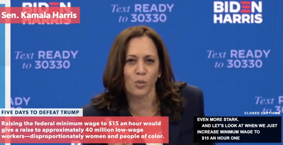 Kamala Harris appears at a virtual town hall with Bernie Sanders on 28 October 2020. (Bernie Sanders)