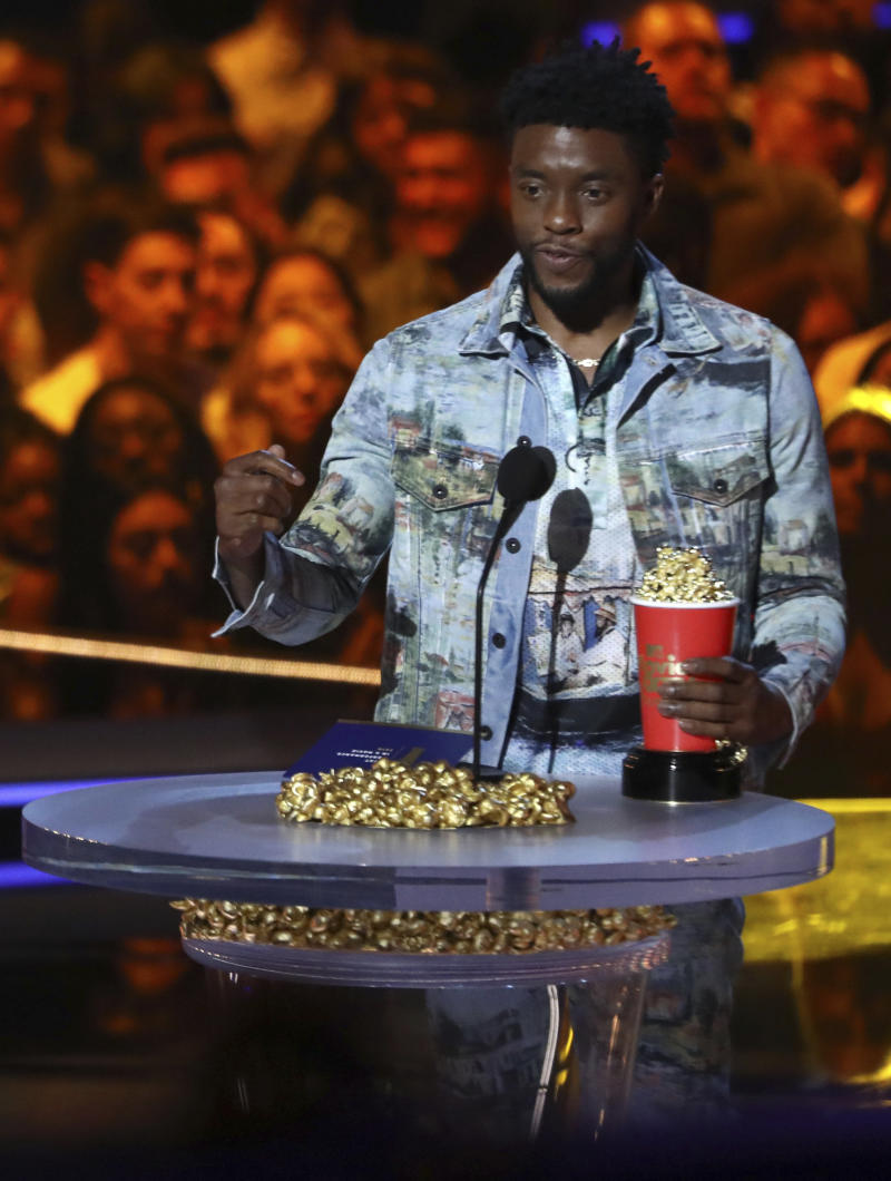 """Black Panther,"" starring Chadwick Boseman, was America's most tweeted about movie in 2018. (Matt Sayles/Invision/AP)"