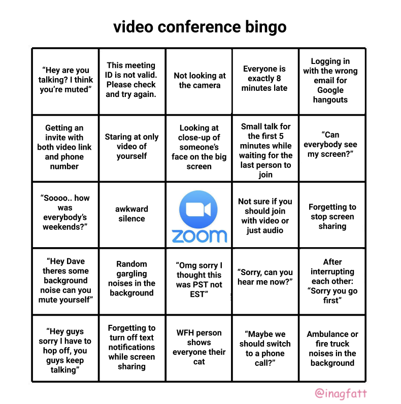 conference call bullshit bingo