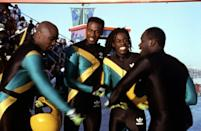 <p>If you loved this 1993 comedy, you and your friends just <em>have</em> to dress up as the characters from <strong>Cool Runnings</strong>. Find a black spandex jumpsuit and paint on the team's well-known colors. You could also opt for an Adidas jacket and leggings, too.</p>