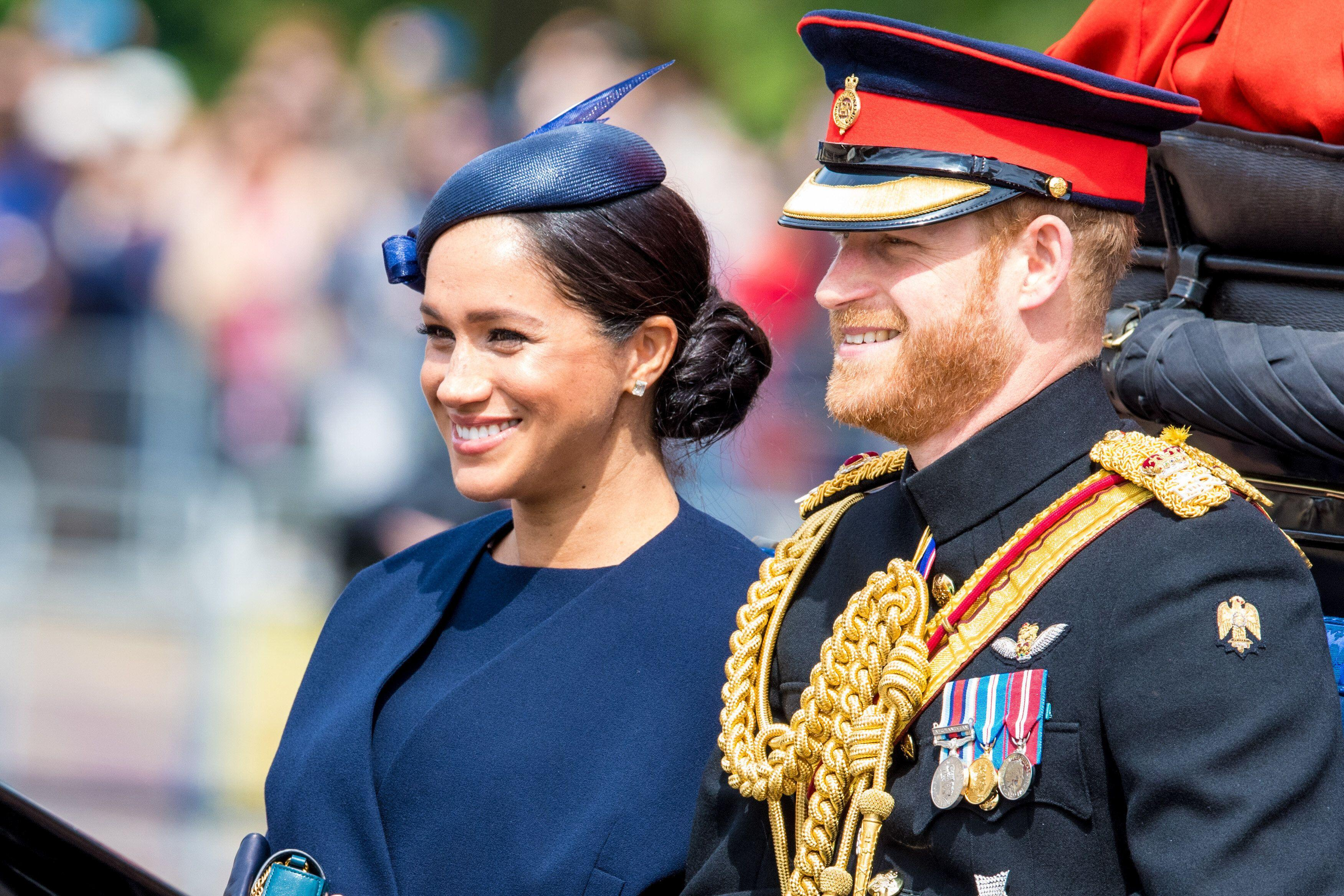 Prince Harry Duke of Sussex and Meghan Markle Duchess of Sussex during Trooping the Colour ceremony, marking the monarch's official birthday, in London. (Photo by DPPA/Sipa USA)