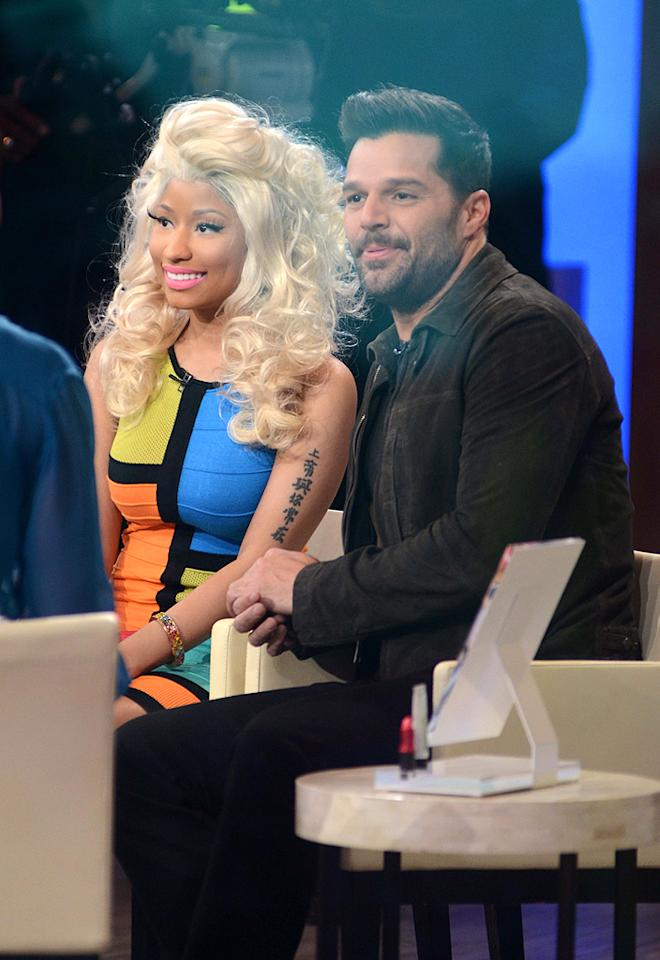 """Musicians Nicki Minaj and Ricky Martin shared the spotlight on Wednesday's """"Good Morning America"""" for a good cause. The duo is currently promoting MAC makeup's Viva Glam line, with proceeds going to the fight AIDS and HIV. (2/15/2012)"""