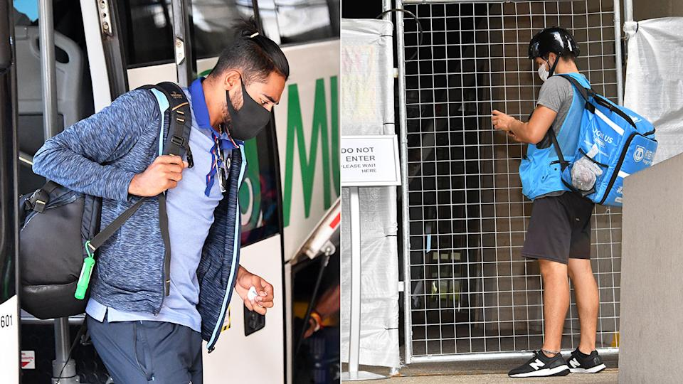 India's players can be seen arriving at their Brisbane hotel.