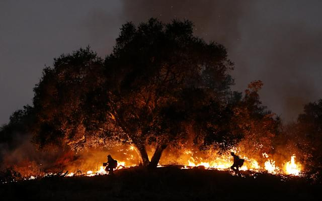 <p>Two firefighters work at a fire spot in Carpinteria, Calif., Dec. 11, 2017. (Photo: Li Ying/Xinhua via ZUMA Wire) </p>