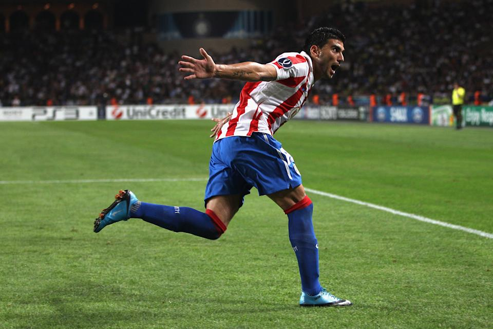 Reyes celebrates scoring the winning goal during the UEFA Super Cup match between Inter Milan and Atletico Madrid in Monaco. (Photo by Michael Steele/Getty Images)