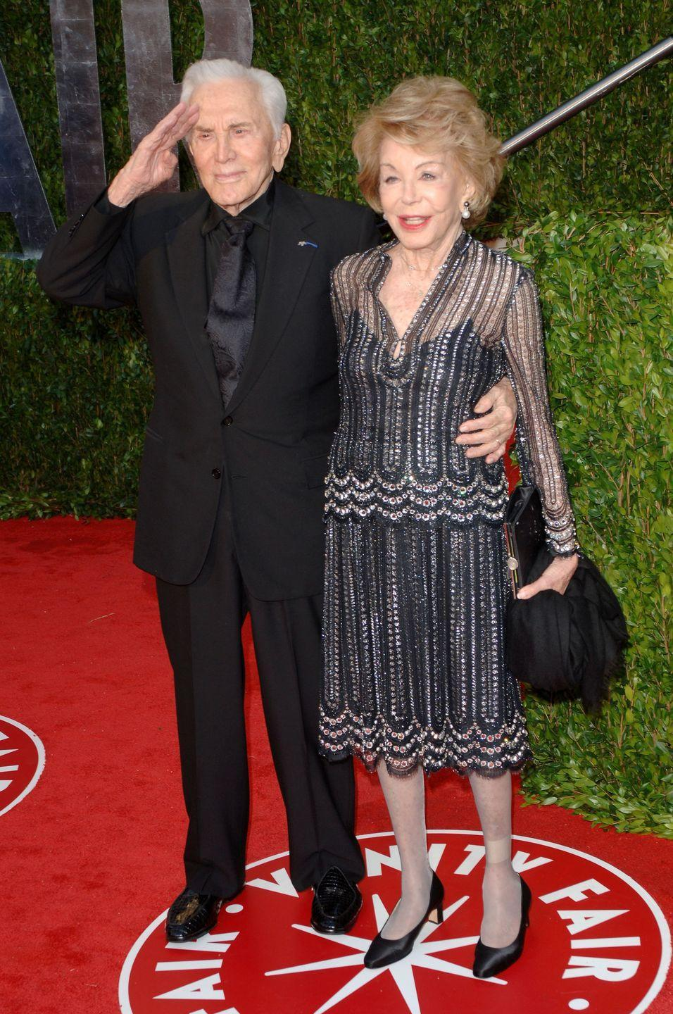 <p>Douglas and Buydens arrive at the 2010 Vanity Fair Oscar Party. </p>