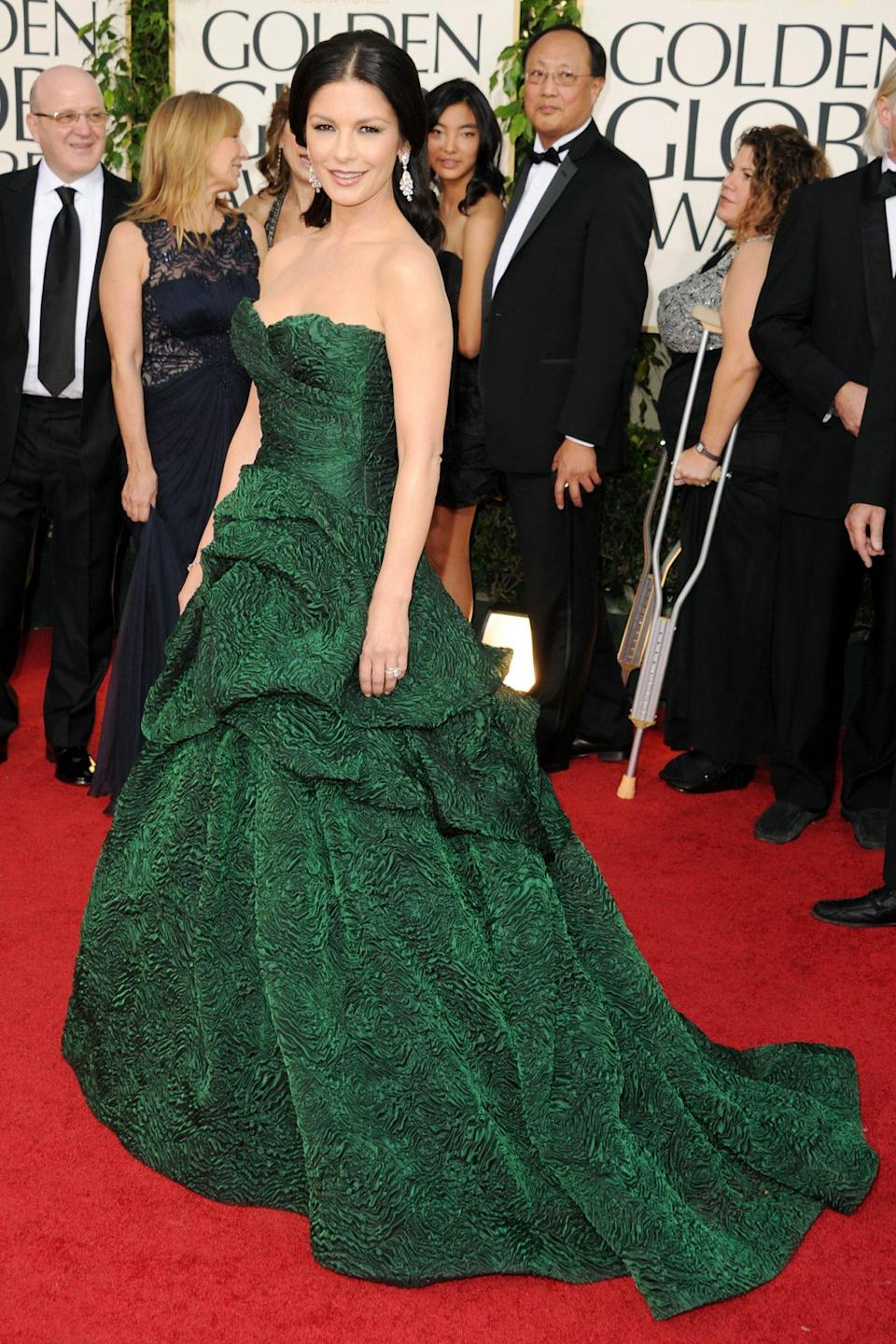 <p>Catherine Zeta-Jones made a major impact in her emerald ballgown.</p>