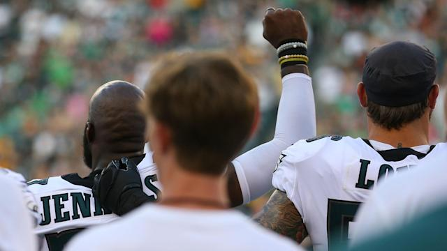 Colin Kaepernick tweeted his support after the likes of Malcolm Jenkins and Kenny Stills demonstrated during the pre-game US anthem.