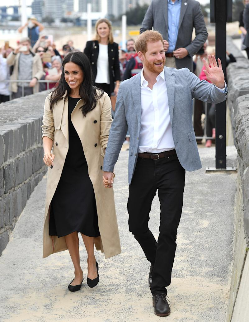 The Duchess of Sussex wearing Rothy's The Point flat in during her royal tour of Australia in 2018. (Photo by Karwai Tang/WireImage)