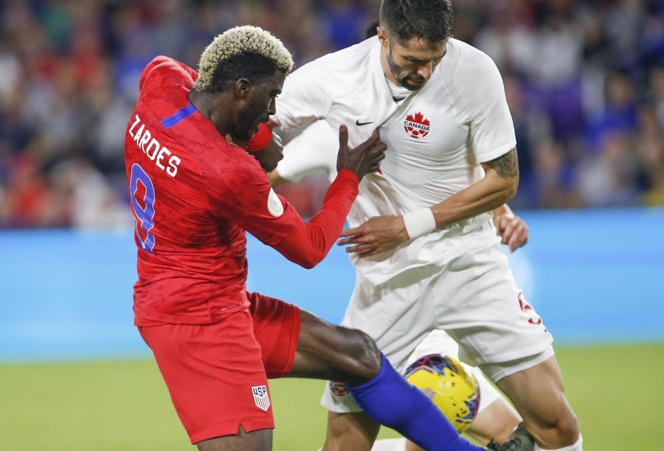 Gyasi Zardes (left) and the USMNT have had their ups the past couple years, but never without notable lulls too. (Reinhold Matay-USA TODAY Sports)