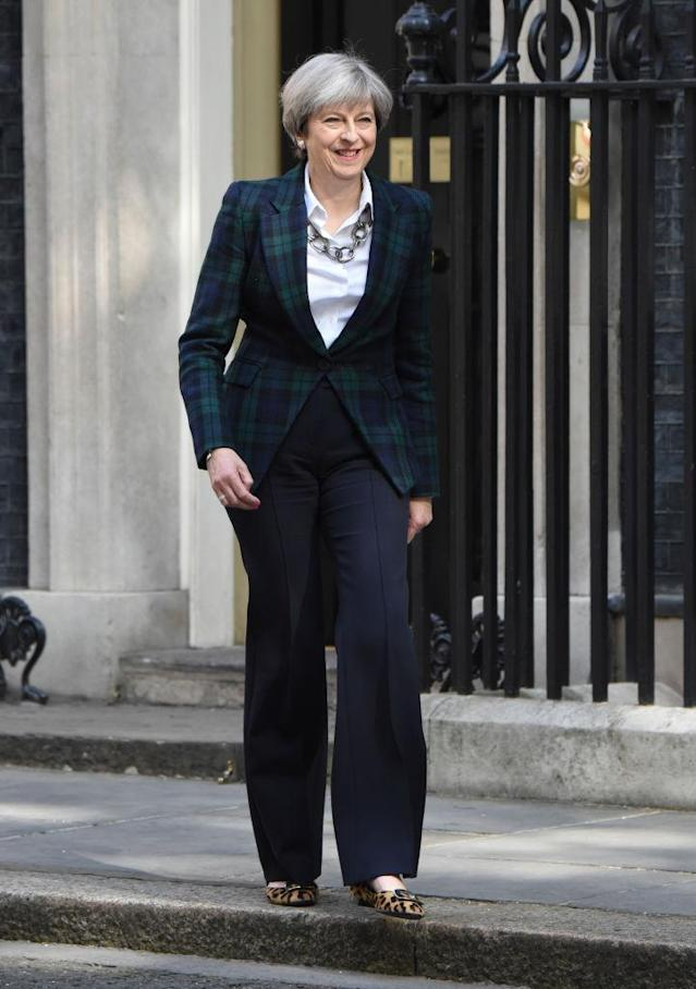British Prime Minister Theresa May says her shoes played a role in at least one woman going into politics. (Photo: Getty Images)
