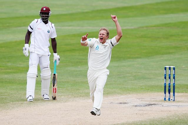 DUNEDIN, NEW ZEALAND - DECEMBER 07: Neil Wagner of New Zealand celebrates the wicket of Shane Shillingford of the West Indies during day five of the first test match between New Zealand and the West Indies at University Oval on December 7, 2013 in Dunedin, New Zealand. (Photo by Hannah Johnston/Getty Images)