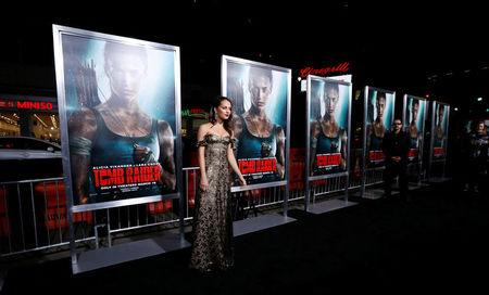 "FILE PHOTO - Cast member Alicia Vikander poses at the premiere for ""Tomb Raider"" in Los Angeles, California, U.S., March 12, 2018. REUTERS/Mario Anzuoni"