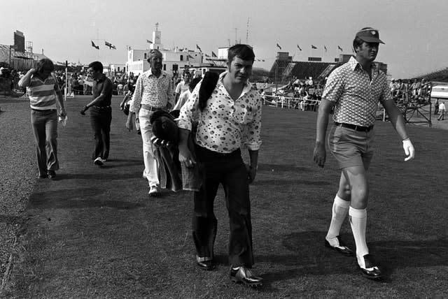 Brian Barnes (right) leading the way at Royal Birkdale, September 1976 (PA)