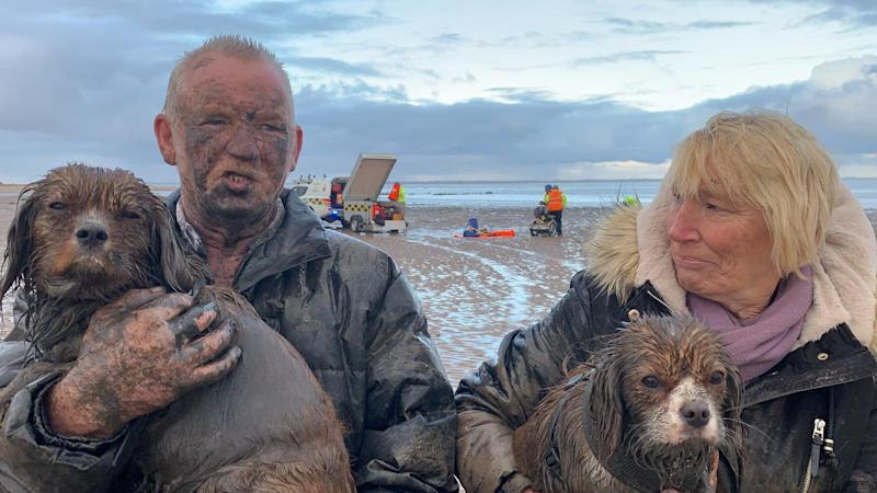 Brian Garrett blamed his wife Jean for getting stuck in mud in Humberston, Lincolnshire (Picture: MEN)