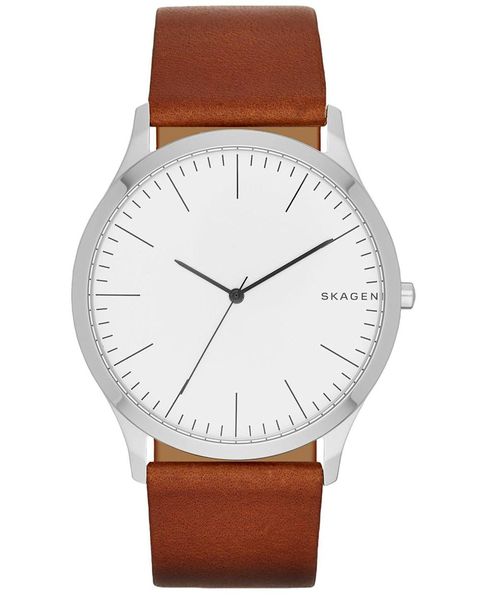 "<p><strong>Skagen</strong></p><p>amazon.com</p><p><strong>$69.00</strong></p><p><a href=""https://www.amazon.com/dp/B01LC11J50?tag=syn-yahoo-20&ascsubtag=%5Bartid%7C10049.g.22628672%5Bsrc%7Cyahoo-us"" rel=""nofollow noopener"" target=""_blank"" data-ylk=""slk:Shop Now"" class=""link rapid-noclick-resp"">Shop Now</a></p><p>Upgrade their wrist with a simple timepiece. This one features a clean white face and a classic brown leather strap.</p>"