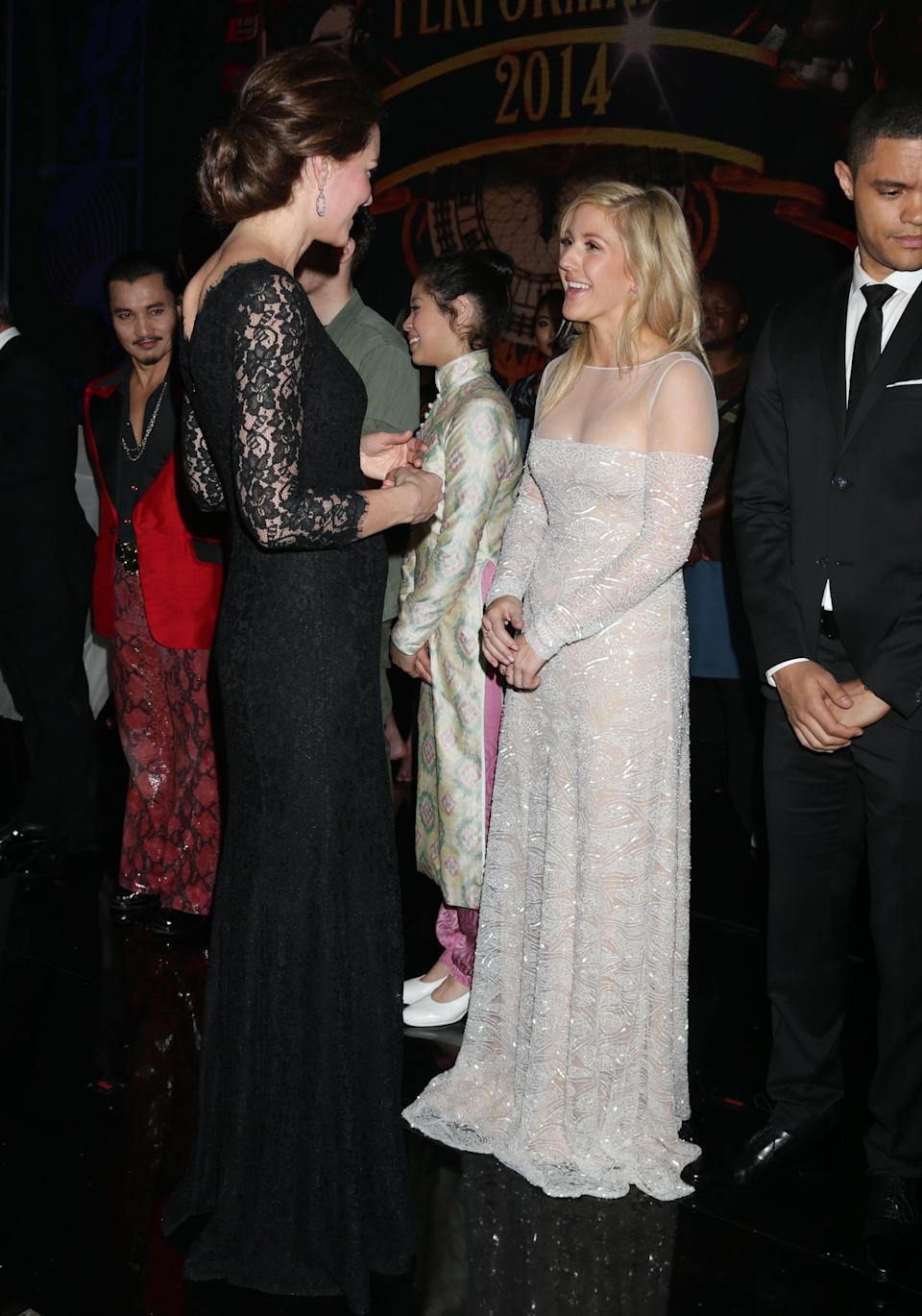 <p>Singer Ellie Goulding was also at the star-studded event and chose a floor-sweeping gown to meet the Duchess of Cambridge – who is sure to have approved. <em>[Photo: PA]</em> </p>