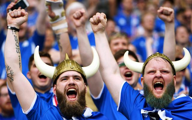 <span>Iceland fans made the most of their first major tournament appearance</span> <span>Credit: GEORGI LICOVSKI/EPA </span>