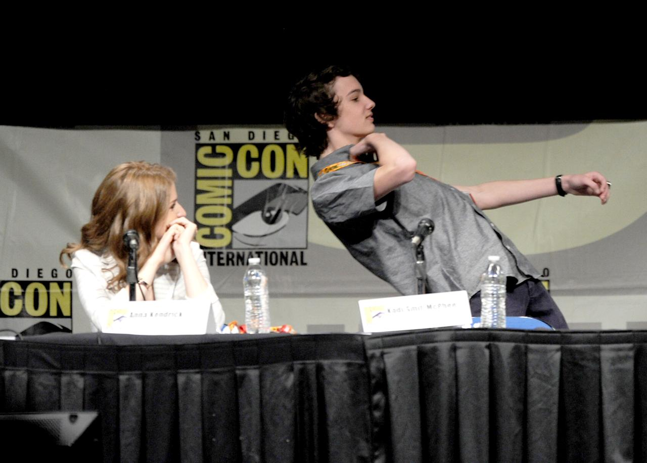 """SAN DIEGO, CA - JULY 13:  Actors Anna Kendrick and Kodi Smit-McPhee speak at the """"Paranorman: Behind The Scenes"""" panel during Comic-Con International 2012 at San Diego Convention Center on July 13, 2012 in San Diego, California.  (Photo by Kevin Winter/Getty Images)"""