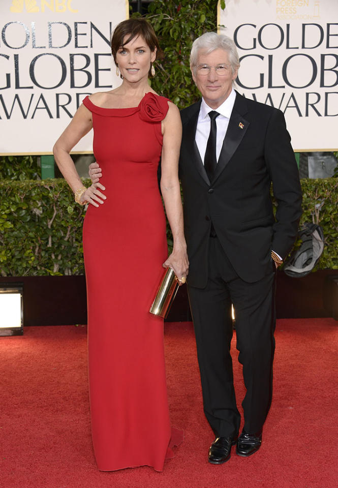 Carey Lowell and Richard Gere arrive at the 70th Annual Golden Globe Awards at the Beverly Hilton in Beverly Hills, CA on January 13, 2013.
