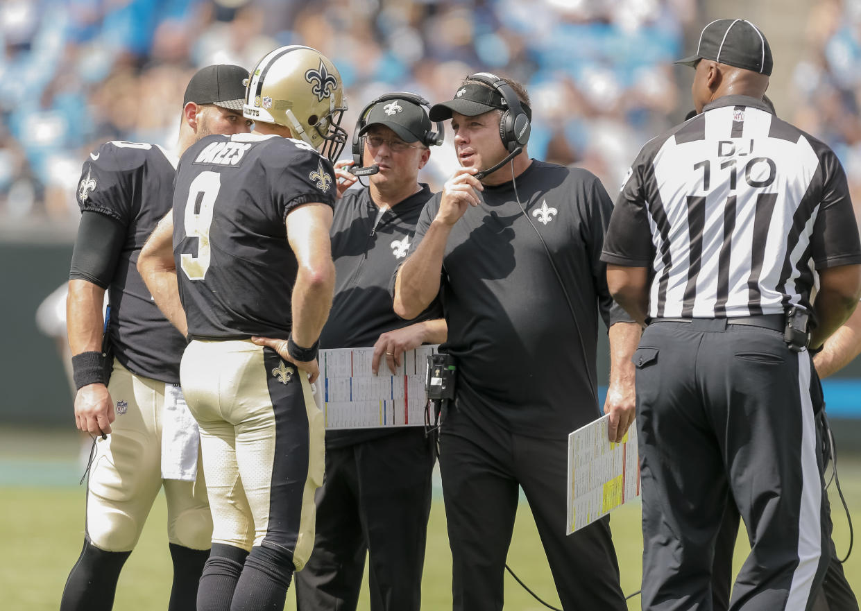 """<a class=""""link rapid-noclick-resp"""" href=""""/nfl/players/5479/"""" data-ylk=""""slk:Drew Brees"""">Drew Brees</a> and Sean Payton have been a pretty decent quarterback-coach combo over the years. Keep investing in the Saints' offense, fantasy owners. (AP Photo/Bob Leverone)"""
