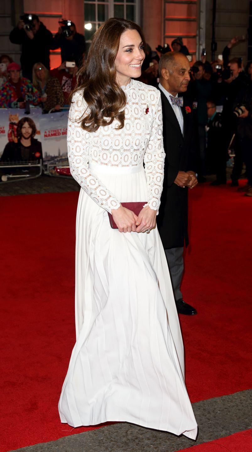 <p>Kate was attending the premiere of <em>A Street Cat Named Bob</em> in London when she wore this regal outfit in 2016. </p>