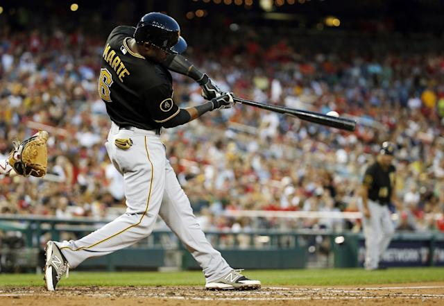 Pittsburgh Pirates' Starling Marte breaks his bat as he hits an RBI single during the third inning of a baseball game against the Washington Nationals at Nationals Park, Saturday, Aug. 16, 2014, in Washington. (AP Photo/Alex Brandon)