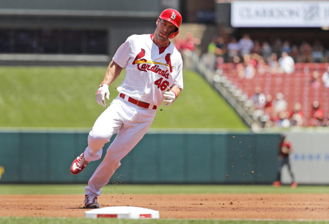 St. Louis Cardinals' Paul Goldschmidt round third on his way to score during the first inning of a baseball game against the Arizona Diamondbacks Sunday, July 14, 2019, in St. Louis. (AP Photo/Jeff Roberson)
