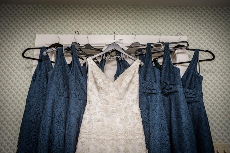 brides and bridesmaids dresses