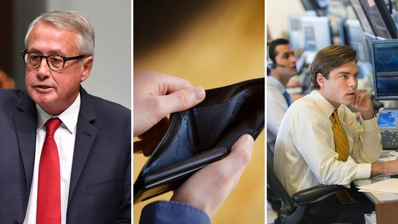 Former federal treasurer Wayne Swan on the left, an empty wallet in the centre and stockbrokers looking nervous on the right.