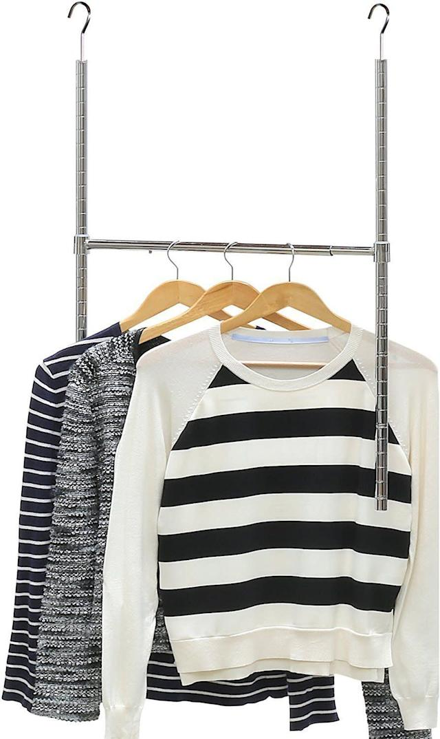 Run out of space to hang your clothes? Add another row of clothing with this minimalist closet rod. Get it on <span>Amazon</span>.