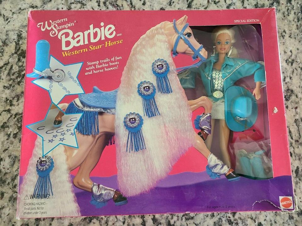 <p><span>Western Stampin' Barbie Doll and Western Star Horse Set 1993</span> ($180)</p>