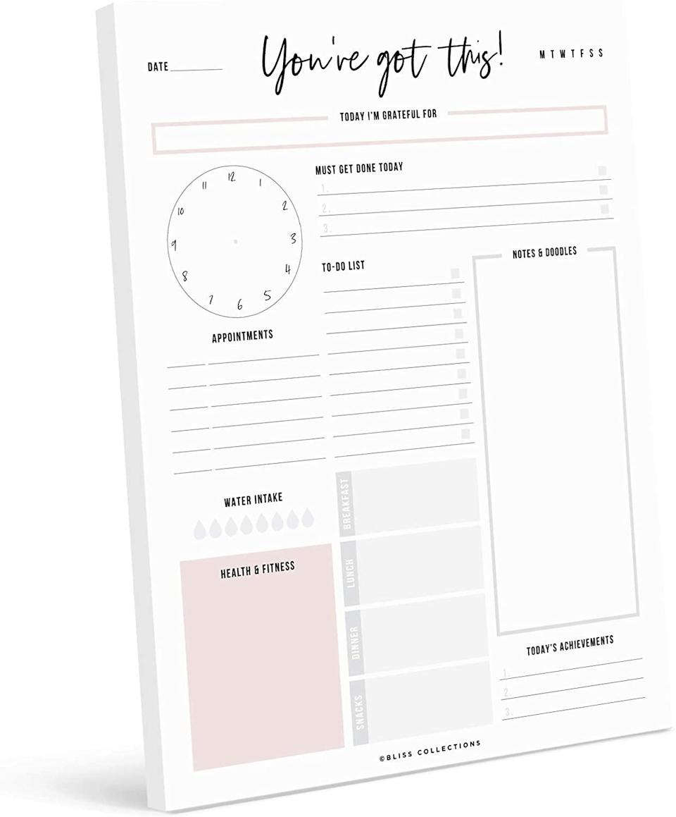 """<h3>Daily Planner</h3><br><br><strong>Bliss Collections</strong> Daily Planner with 50 Undated 8.5 x 11 Tear-Off Sheets, $, available at <a href=""""https://amzn.to/2LVulRW"""" rel=""""nofollow noopener"""" target=""""_blank"""" data-ylk=""""slk:Amazon"""" class=""""link rapid-noclick-resp"""">Amazon</a>"""