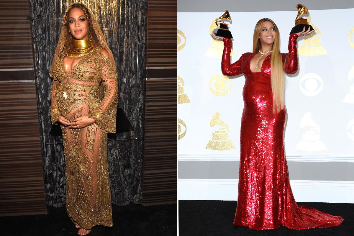 <p>Beyoncé, who performed at the 2017 Grammy Awards, wore two attention-grabbing Peter Dundas gowns. For her performance, the pregnant singer wore a semi-sheer gold gown that featured embellishments and unique detailing. She accessorized with a gold headpiece. She later changed into a shimmering red, figure-hugging gown that featured a plunging neckline. (Photos: Getty Images) </p>